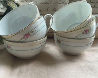 Set of 6 Antique Noritake Morinura Teacup with hand painted pink roses