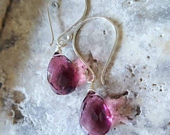 Pink Kunzite Quartz Simple Drop Earrings on Sterling Silver Everyday Earrings Gift for Her