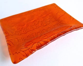 Fused Glass Flower Imprint Dish in Orange by BPRDesigns