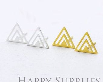 Nickel Free - High Quality Triangle Dual-used Golden / Silver Brass Earring Post Finding with Ear Studs Back Stopper (ZEN012)