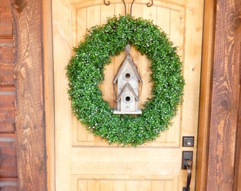 Farmhouse Wreath-BIRDHOUSE BOXWOOD Wreath-SCENTED Wreaths-Artificial Boxwood Wreath-Winter Door Decor-Year Round Wreath-Outdoor Wreath-Gifts