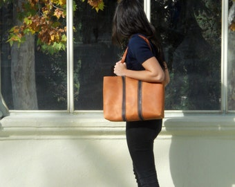 LARGE LEATHER TOTE/ leather light brown tote bag, shoulder bag, carryall. handmade