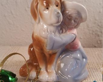 Puppy Love figurine, A Girl and her Dog figurine, Child and Dog figurine, Porcelain child with dog figurine