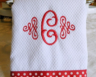 Monogrammed Kitchen Towel, Dish Towel, Red with White Dots