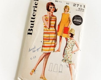 Shop SALE Vintage 1960s Womens Size 10 One Piece Beachdress Butterick Sewing Pattern 2711 Complete / bust 31 waist 24 / Smmer Beach Resort W