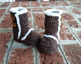 READY TO SHIP Crochet Baby Uggs, Infant Ugg Look-alikes, Baby Boots, Brown Infant Booties - 6-9 month baby girl or boy