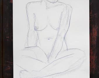 "Original drawing of Act of ""Sitting"" / nude art / pastel chalk"