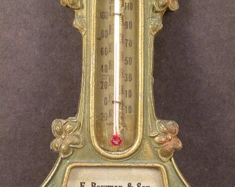 1800's Art Nouveau Advertising Store Shelf Bronze Thermometer Periwinkle Flower~