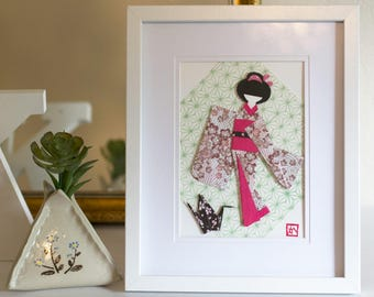 Origami Paper Japanese Doll Framed Art, Gift, Home Decor - Sakura