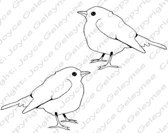 Digi Stamp Clip Art, Embroidery Design, Bird Clipart, Wildlife Clipart, Commercial Use, Hand Drawn Clipart, OOAK Clipart, INSTANT DOWNLOAD