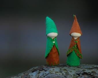 Forest folk Set of two waldorf gnomes, handmade natural toys, forest folk felted peg dolls