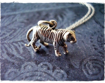 Silver Tiger Necklace - Sterling Silver Tiger Charm on a Delicate Sterling Silver Cable Chain or Charm Only