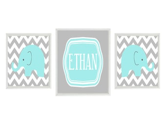 Elephant Nursery Art Print - Aqua Gray Chevron Decor - Name Personalize Customize - Baby Boy Room - Wall Art Home Decor   &  x