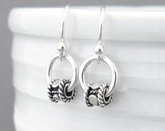 Tiny Silver Hoop Earrings Silver Circle Earrings Silver Bead Earrings Silver Drop Earrings Simple Jewelry Bohemian Jewelry - Modern Edge