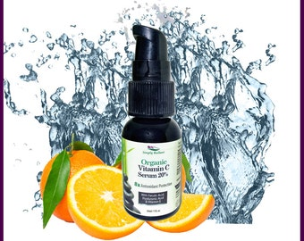 Organic Vitamin C Serum w Ferulic Acid Hyaluronic Acid & Vitamin E Organic Skin Care - Organic Facial Serum - Anti Aging Serum - Face Serum
