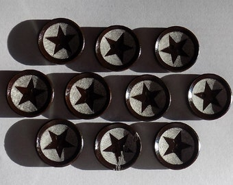 10 Black and White Star Buttons - Sewing Buttons - #WS-00027