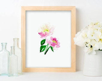 Peony Print - Pink Floral Art, Painted Pink peonies, Pink Nursery Florals, Farmhouse Style Art, Pink Watercolor, pink blooms, girls room art