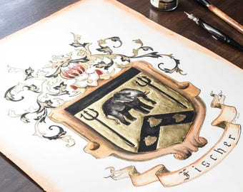 "Original Coat of Arms or Custom Family Crest - 11"" by 14"" - custom wedding gift or personalized art in watercolor"