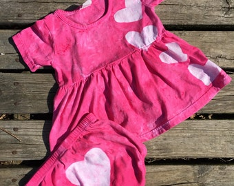Pink Baby Dress, Pink Baby Outfit, Baby Girls Dress, Toddler Girls Dress, Pink Toddler Dress, Pink Heart Dress, Birthday Gift (18 months)