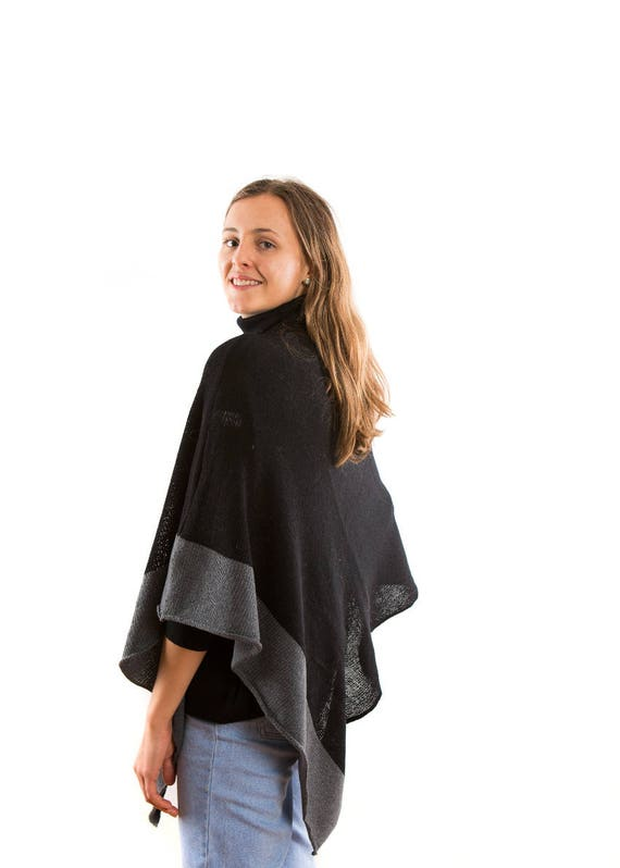 Womens  Wool knitted Poncho  Black . Monochrome  Travel Wrap Poncho .Womens knit Black Cape . Minimalist  wrap. Present for wife.