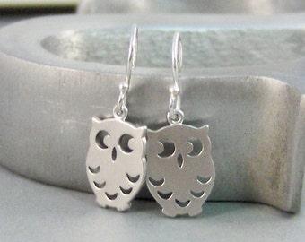 Silver Owl,Earrings,Owl Earrings,Owl ,Nature,Owl,Woodland Jewelry,Woodland,Silver Earrings,Sterling.Handmade SeaMaidenJewelry