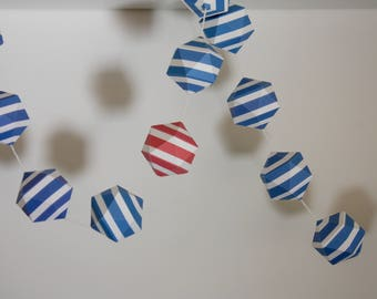 GARLAND#26 - Paper garland - White and Blue stripes