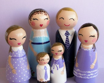 Hand Painted Love Boxes Custom Family of Five 6 Peg Dolls Wood