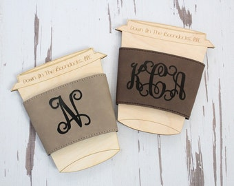 Leather Coffee Cup Sleeve Gift For Her Coffee Lover Gift Wedding Favor