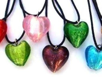 WHOLESALE 9 x Glass Heart Necklaces ( Great for Parties) - UK Based