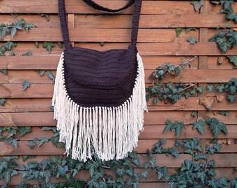 BOHO Fringe Bag, Fringe Crochet Bag, Festival Bag, Halfmoon Crochet Bag, Cotton Fringe Crochet Bag