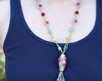 Floral Lampwork Focal Bead Tassel Necklace - FJ 19