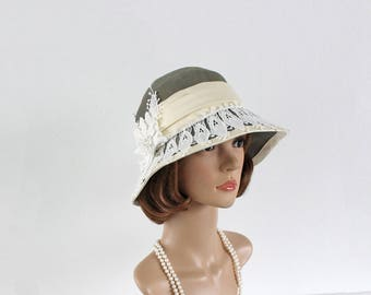 Beautiful Great Gatsby party hat in taupe green and off-white lace trim, 1920s cloche hat, Downton Abbey hat, 20s tea hat, 1920s flapper hat