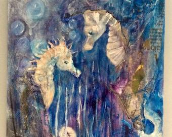 "Purple Seahorse Oil on Canvas Painting 10x12"""