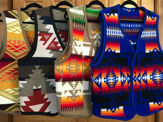 Mens Reversible Blanket Vest Wool Made to Order