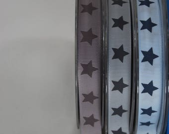 Ribbon grosgrain 16 stars taupe and Tan x 2 m