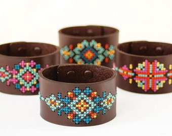 DIY Cross Stitch Kit - Leather Cuff with Southwestern Inspired Design