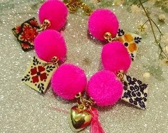 Pink Pompom and talavera art bracelet
