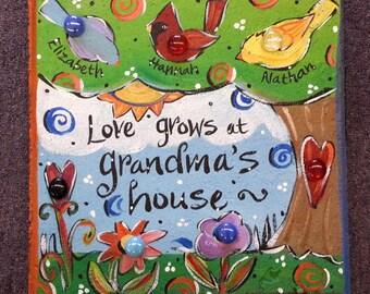 Garden stone, Grandma, cardinal, tree
