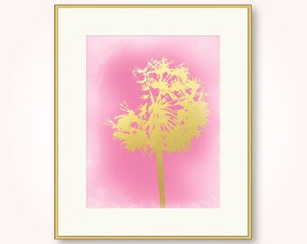pink and gold girl nursery dandelion printable pink and yellow girls room abstract wall art decor digital print jpg instant download pdf