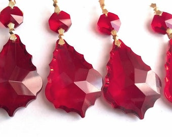 5 Red 50mm French Chandelier Crystals Prism Ornaments