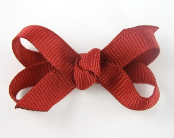 Baby Hair Bow in Cranberry - Extra Small Boutique Bow On Mini Snap Clip for Fine Hair Newborn to Toddler - Non Slip Barrette mm