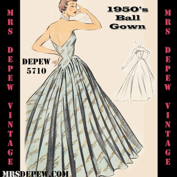 Vintage Sewing Pattern 1950\'s Evening Ball Gown in Any