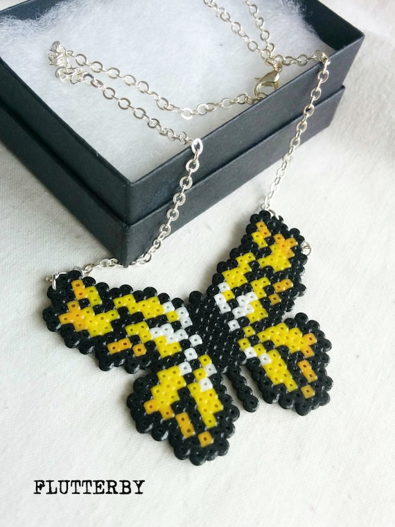 Flutterby necklace in yellow and orange made of Hama Mini Perler Beads for those gamer girl butterfly lovers