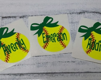 PersonalizedSoftball decal with bow- softball decals/stickers-vinyl decal- vinyl decal with team color name and bow