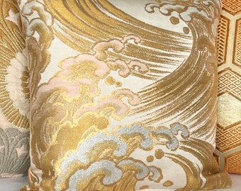 Stunning Metallic Gold Hokusai Wave inspired Luxury double sided Pillow Cushion Ltd Edition made from rare Vintage Japanese Obi Silks