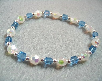 Winter Icy Blue and White Crystal Bead Stretch Bracelet, Aurora Borealis Finish, Faceted Bead Bracelet, Jewelry Gift For Women, Mothers Day
