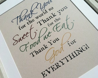 Thank You GOD for Everything World So Sweet Food We Eat  - Inspirational Religious Quote - Wall Art Decor - Eco - Recycled - Typography