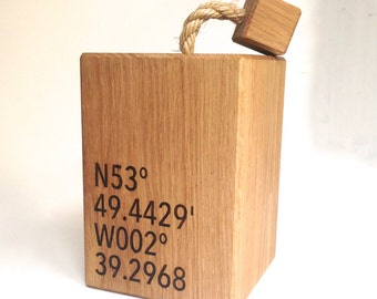 Coordinates Oak Doorstop - Gift For Boyfriend - Couple Gift - Wedding Gift - Anniversary Gift - Door Stop - Country Decor - New Home Gift