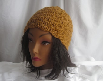 Hat Crochet Woman's in Honey Mustard Stylish, Chic, Trendy and Lacy Cap Handmade Fashion Accessory