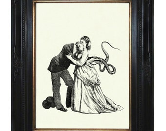 Steampunk Kraken Art Print Victorian Couple with Tentacle Arms II Octopus Kraken Lady Gentleman Steampunk Art Print